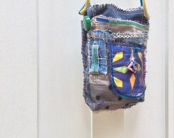 Handmade Unique Crossbody Bag or Hip Bag Artsy Design Collaged Textiles