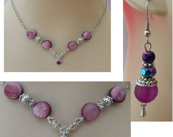 Silver & Purple Necklace and Earrings Set NEW Adjustable Accessories Fashion