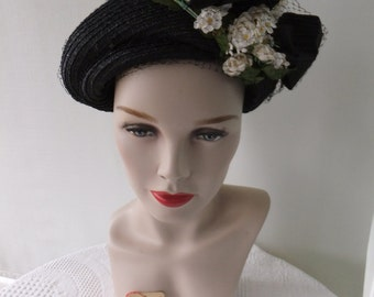 Vintage Lane Bryant Black Straw Hat with Large Bow and White Flowers Designer Label with Original Tag Formal