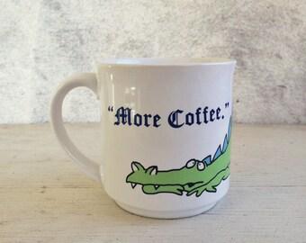 """Vintage Sandra Boynton dragon mug, Boynton """"More Coffee"""" mug withering dragon, retro 1980s dragon cup, coffee lover gift, stocking stuffer"""