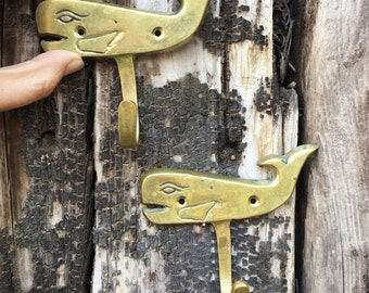 Pair of vintage brass whale hooks, whale wall hook, nautical decor, Moby Dick key hanger, beach decor, coat hook, towel hook, whale nursery