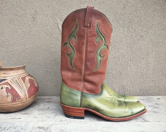 Vintage Women's size 10 M Dan Post green cowboy boot with brown upper, cowgirl boot boho rockabilly, green brown boot, Western boot women