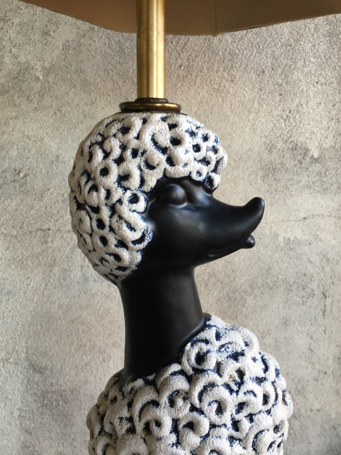 1950s Ceramic Poodle Lamp With Black Silk Shade Vintage