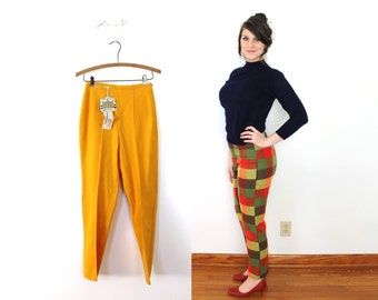 1960s Cigarette Pants / 60s NOS Mustard Yellow Wool Cigarette pants