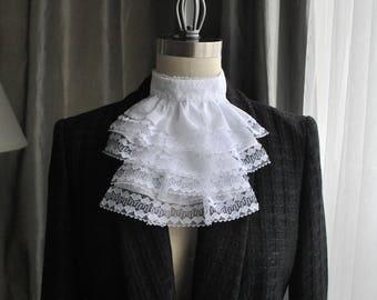 NEW Fashion Jabot/Lace Jabot/ French Ascot/ High Neck blouse/White Lace Jabot/Modern Jabot/ High End Jabot/ Couture Jabot/