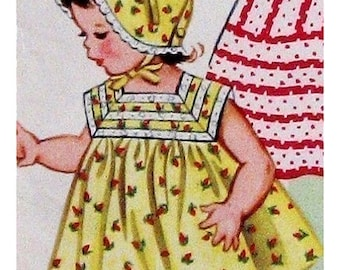 "PDF Full Size Fifties Sewing Pattern to make  Toddlers Girl's Sleeveless Sun Dress & Bonnet 1-2 Years Chest 21"" A Digital Download"