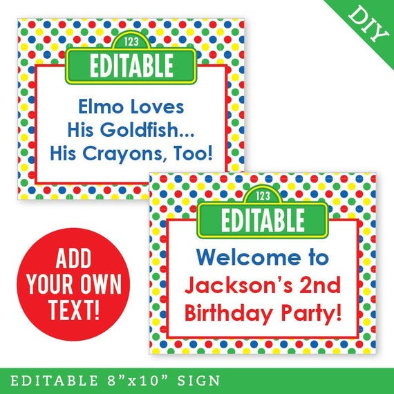 INSTANT DOWNLOAD Sesame Street Party - EDITABLE Printable 8x10 Sign