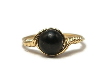 Shungite 14k Yellow Gold Fill Wire Wrapped Ring Custom Sized