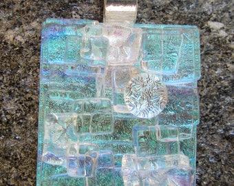 Light blue-green dichroic fused glass Mosaic Pendant