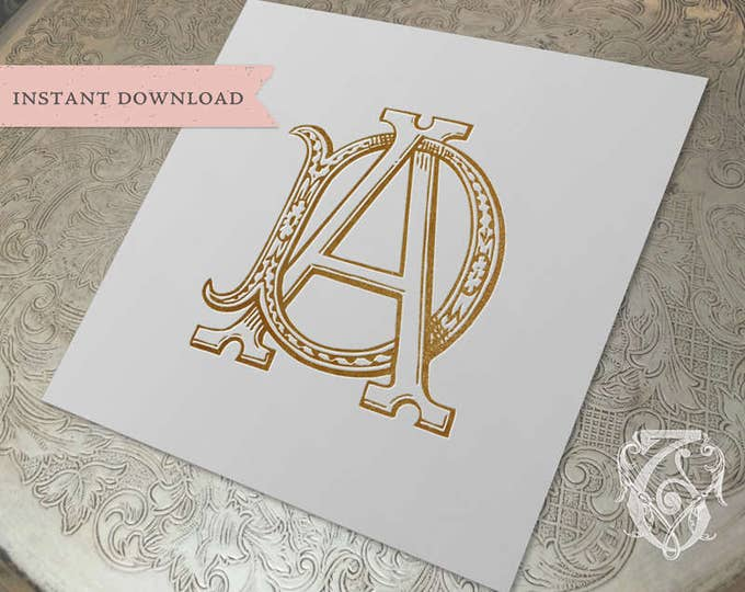 Vintage Wedding Monogram AD DA Digital Download D A