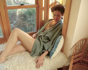 Free Size...Japanese Kimono... Moss by Moonlight... Satiny Confection