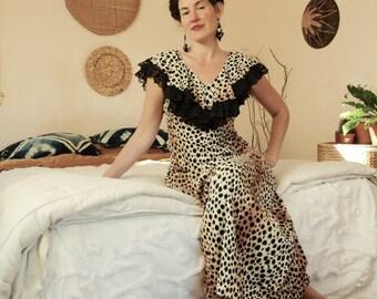60s Leopard Print Maxi Dress... Queen of the Felines... Cat Powered Mega Diva