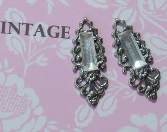 Vintage Filigree Charms Rhinestone Bagette Crystal Silver Findings Earring Parts Components Finding Art Deco. #1674B