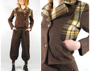 1930s Snow Suit - Chocolate Brown Wool Plaid // Balloon style pants High Waisted // Short Jacket