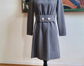 60s Mod Couturier Dress Custom Made Round Neckline Long Sleeves Partial Front Belting Hidden Pockets Beautiful Buttons Chic Mad Men Style