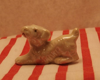 Pearly White Luster Terrier Figurine, Made in Japan, Playful Miniature Puppy