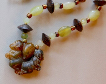 Monkey Twins Necklace Carved Chinese Jade Monkeys w Peach Pit with Carved Sea Green and Gold Serpentine Beads Gemstone Jewelry