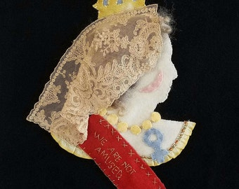 We are not amused. Wool applique. Queen Victoria
