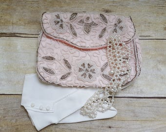 Vintage Walborg Embroidered Seed Bead Clutch, Evening Bag, Wedding Purse