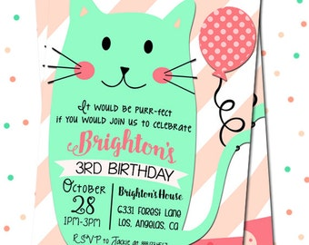 Cat Birthday Party Invitation, Kitty Invitation, Cat Invitation, Kitty Birthday Invitation, Digital Cat Invitation, Printable Cat Invitation