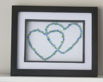 Heart Art, Seaglass Art,  Love Art, Beach Glass Art, Nautical Artwork, Ocean Art, Blue Green Sea Glass, Green Beach Glass