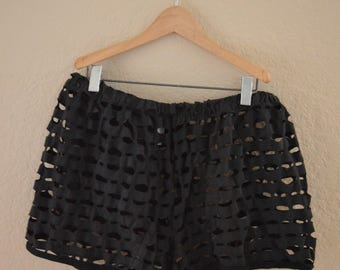 Vintage 90s Mesh See-Through Peek a Boo Black Shorts