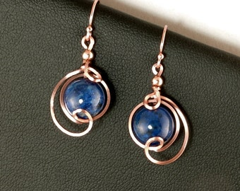 Lapis Gemstone Rose Gold Drop Earrings, Lapis Lazuli Asymmetrical Small Pink Gold Wire Dangle Earrings, Lapis Lazuli Jewelry Gift For Her