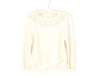 Lace Collar Sweater * Vintage 80s Puff Sleeve Pullover * Cream Sweater * Small / Medium
