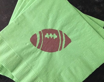 Football Paper Beverage/ Lunch/ Dinner Napkins - Green and Brown