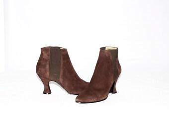YVES SAINT LAURENT Vintage Brown Suede Ankle Boots Sz 8M