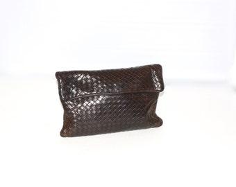 Vintage BOTTEGA VENETA Clutch Intrecciato Dark Brown Leather Tote -AUTHENTIC-