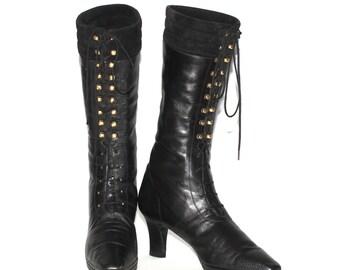 DONNA KARAN NY Black Leather Boots Lace Up Granny 8.5