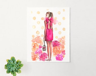 Fashion Illustration Print - Kate Spade - Fashion Sketch - Watercolor-Home Decor-Couture - Peonies Flowers Pink by Rhian Awni on Etsy