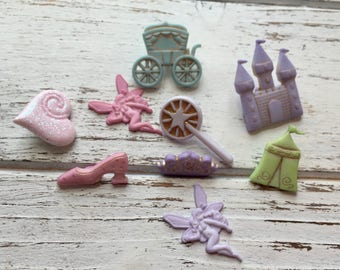 """Princess Themed Buttons, Packaged Novelty Buttons """"Fairy Princess"""" #4301 by Buttons Galore, Castle, Wand, Shoe, Coach & More"""