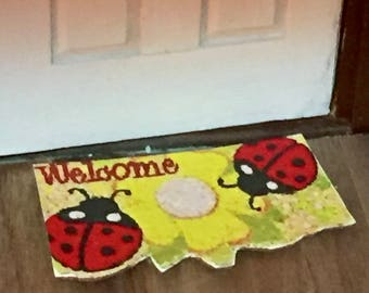 Miniature Welcome Mat, Ladybug Mat, Dollhouse Miniature, 1:12 Scale, Dollhouse Accessory, Mini Decor, Mini Door Mat