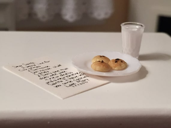 Miniature Letter to Santa With Cookies and Glass of Milk, Dollhouse Miniatures, 1:12 Scale, Holiday Decoration, Christmas Accessories