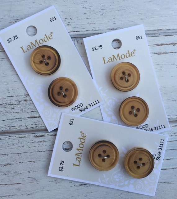 """7/8"""" (22mm)Wood Buttons by LaMode, 4 Hole Buttons, Carded Set of 2, Style 31111, Sewing, Crafting, Quilting, Embellishments"""
