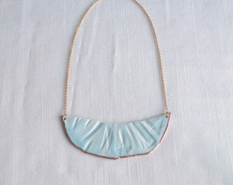 RUCHED No4 artisan celadon blue porcelain bib necklace with copper accent and gold chain