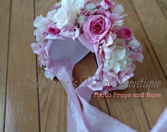 Ready to ship, 0-3 Months, Newborn Baby Girl Flower Bonnet, Floral Bonnet, Photo Prop, Garden Cap, Spring Hat, Pink, White