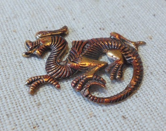 Hand Faux Dark Claret/Rust Patina Brass Dragon Stamping (1) Asian, Fantasy, Steampunk