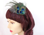 Peacock and spotted feather fascinator (Andrea design, 5 fastener choice) 1930s fashion cap for steampunk, mardi gras,kentucky derby
