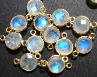 bulk 10 pcs, 15x9mm,8mm stone, Blue Moonstone Gold Vermeil 925 Sterling silver Bezel Rim Pendant Charm Connector