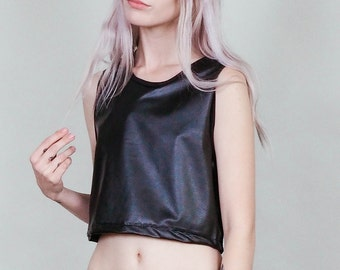 Outlaw - Vegan leather crop top with lace up back - boho rock moto babe