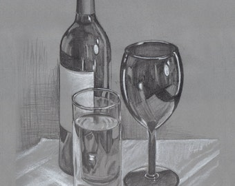 Glass Still Life - Open edition print of an original drawing