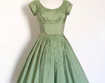 Sage Green Pure Silk Taffeta Scoop Neck 50s Prom Dress  - Made by Dig For Victory