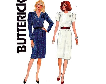 80s Tunic Dress Pattern Butterick 6601 Tulip Sleeves Shoulder Tucks Retro Vintage Sewing Pattern Size 14 Bust 36 inches UNCUT Factory Folds