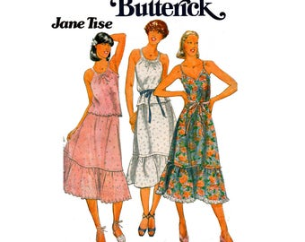 Butterick 5993 JANE TISE Sundress Top & Flounced Skirt 1970s Vintage Sewing Pattern Size 12 Bust 34 inches