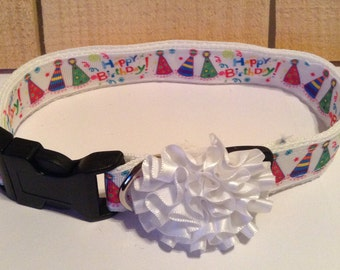 Large Dog Collar, Happy Birthday, Adjustable, Sturdy, Strong, Durable, Fashionable