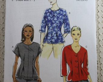 Vogue 8906, Misses' Top Sewing Pattern, Very Easy Top Sewing Pattern, Misses' Pattern, Misses' Size 8, 10, 12, 14, 16, Uncut