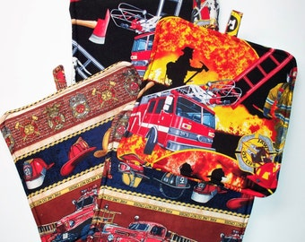 Firefighters & Firetrucks,Set of 2 Heavy Duty,Thick Pot Holders,Kitchen Hot Pads,Trivets,Collector Gift,Firemen Dalmation,Trucks and Ladders